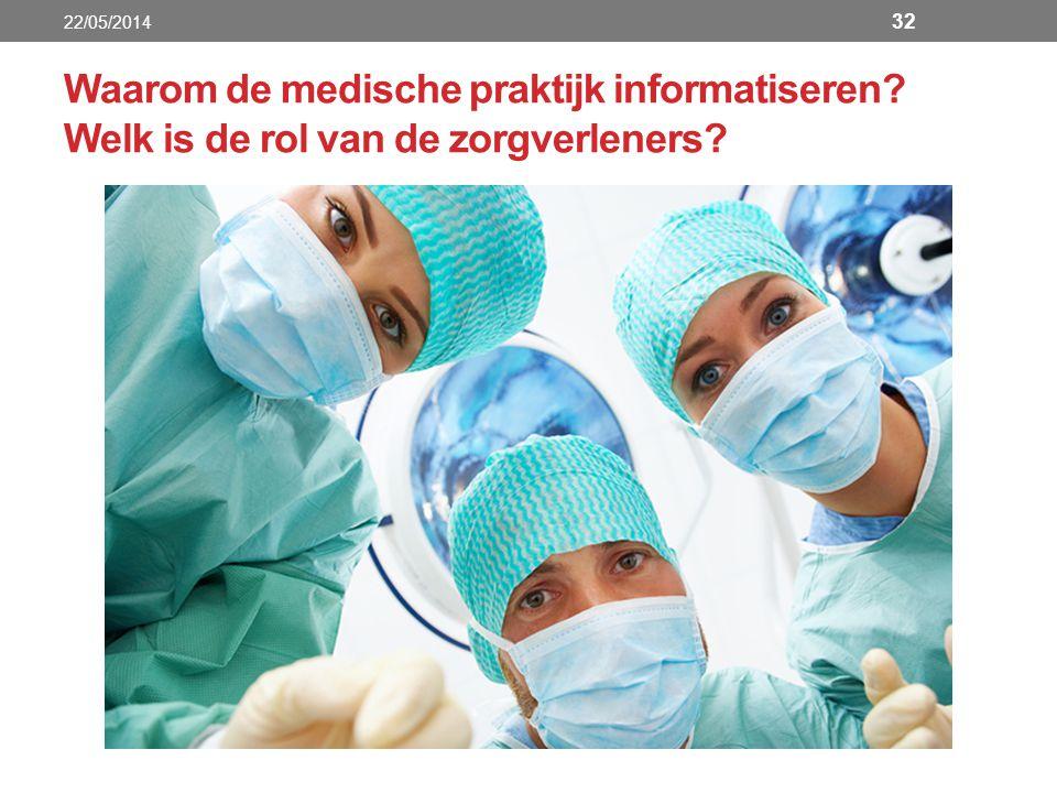 Waarom de medische praktijk informatiseren Welk is de rol van de zorgverleners 22/05/2014 32