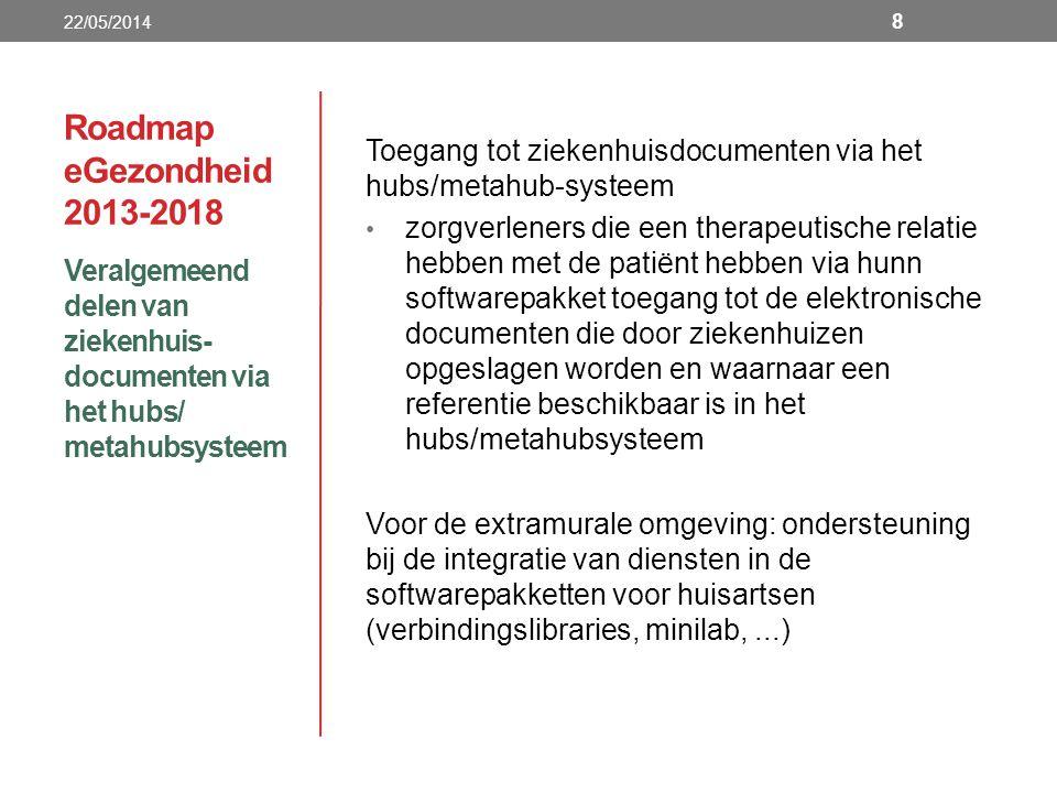 Roadmap eGezondheid 2013-2018 Veralgemeend delen van ziekenhuis- documenten via het hubs/ metahubsysteem 22/05/2014 8 Toegang tot ziekenhuisdocumenten via het hubs/metahub-systeem zorgverleners die een therapeutische relatie hebben met de patiënt hebben via hunn softwarepakket toegang tot de elektronische documenten die door ziekenhuizen opgeslagen worden en waarnaar een referentie beschikbaar is in het hubs/metahubsysteem Voor de extramurale omgeving: ondersteuning bij de integratie van diensten in de softwarepakketten voor huisartsen (verbindingslibraries, minilab,...)