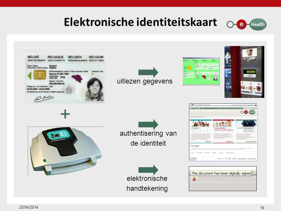 16 25/04/2014 Elektronische identiteitskaart authentisering van de identiteit uitlezen gegevens elektronische handtekening +