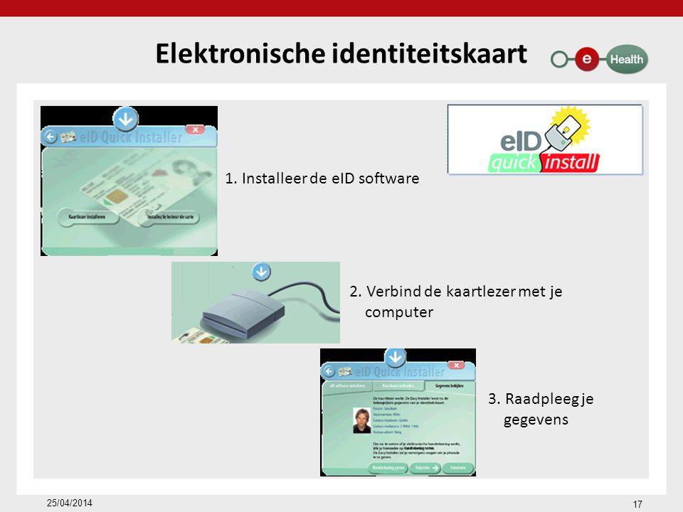 17 25/04/2014 Elektronische identiteitskaart 1.Installeer de eID software 2.