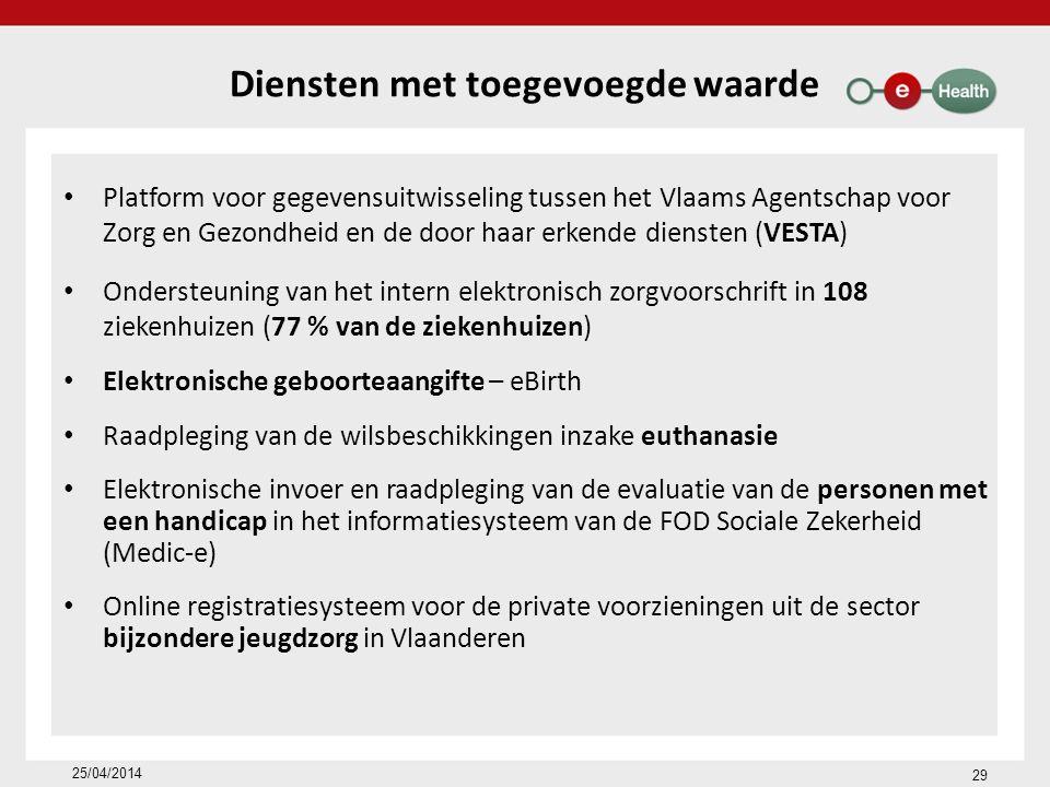 Diensten met toegevoegde waarde Platform voor gegevensuitwisseling tussen het Vlaams Agentschap voor Zorg en Gezondheid en de door haar erkende diensten (VESTA) Ondersteuning van het intern elektronisch zorgvoorschrift in 108 ziekenhuizen (77 % van de ziekenhuizen) Elektronische geboorteaangifte – eBirth Raadpleging van de wilsbeschikkingen inzake euthanasie Elektronische invoer en raadpleging van de evaluatie van de personen met een handicap in het informatiesysteem van de FOD Sociale Zekerheid (Medic-e) Online registratiesysteem voor de private voorzieningen uit de sector bijzondere jeugdzorg in Vlaanderen 29 25/04/2014