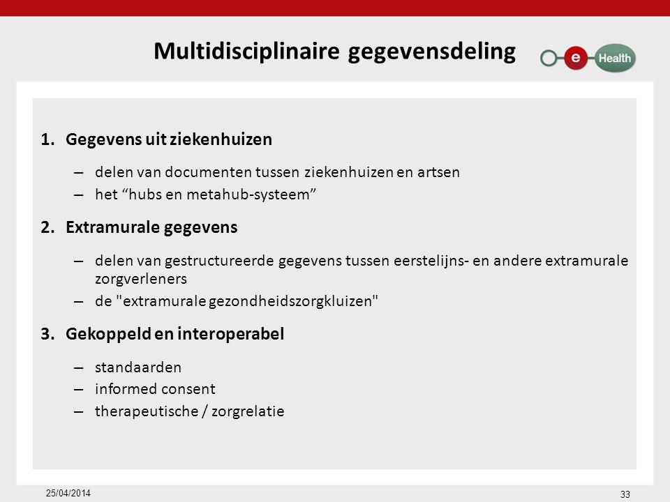 Multidisciplinaire gegevensdeling 1.Gegevens uit ziekenhuizen – delen van documenten tussen ziekenhuizen en artsen – het hubs en metahub-systeem 2.Extramurale gegevens – delen van gestructureerde gegevens tussen eerstelijns- en andere extramurale zorgverleners – de extramurale gezondheidszorgkluizen 3.Gekoppeld en interoperabel – standaarden – informed consent – therapeutische / zorgrelatie 33 25/04/2014