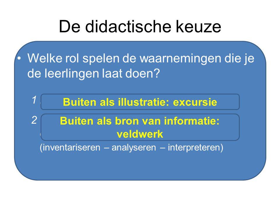 De didactische keuze Welke rol spelen de waarnemingen die je de leerlingen laat doen? 1 bevestiging achteraf (deductief) 2 verzameling gegevens waarui