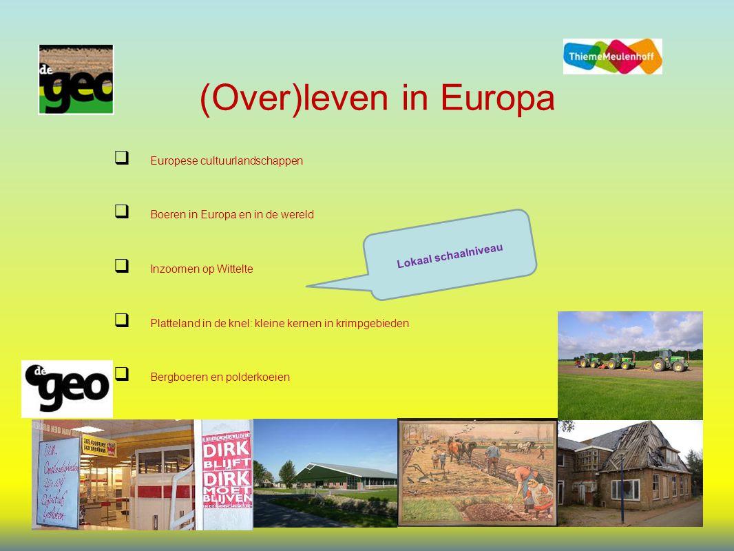 (Over)leven in Europa  Europese cultuurlandschappen  Boeren in Europa en in de wereld  Inzoomen op Wittelte  Platteland in de knel: kleine kernen in krimpgebieden  Bergboeren en polderkoeien Lokaal schaalniveau