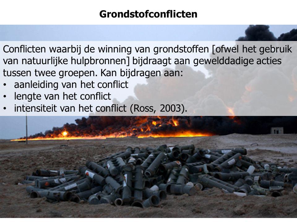 Grondstofconflicten Conflicten waarbij de winning van grondstoffen [ofwel het gebruik van natuurlijke hulpbronnen] bijdraagt aan gewelddadige acties t