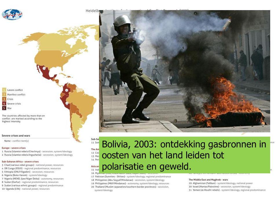 Bolivia, 2003: ontdekking gasbronnen in oosten van het land leiden tot polarisatie en geweld.