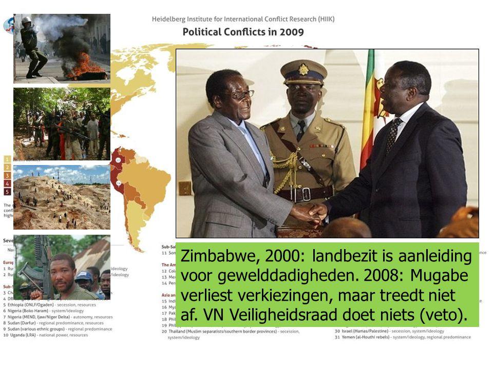 Zimbabwe, 2000: landbezit is aanleiding voor gewelddadigheden. 2008: Mugabe verliest verkiezingen, maar treedt niet af. VN Veiligheidsraad doet niets