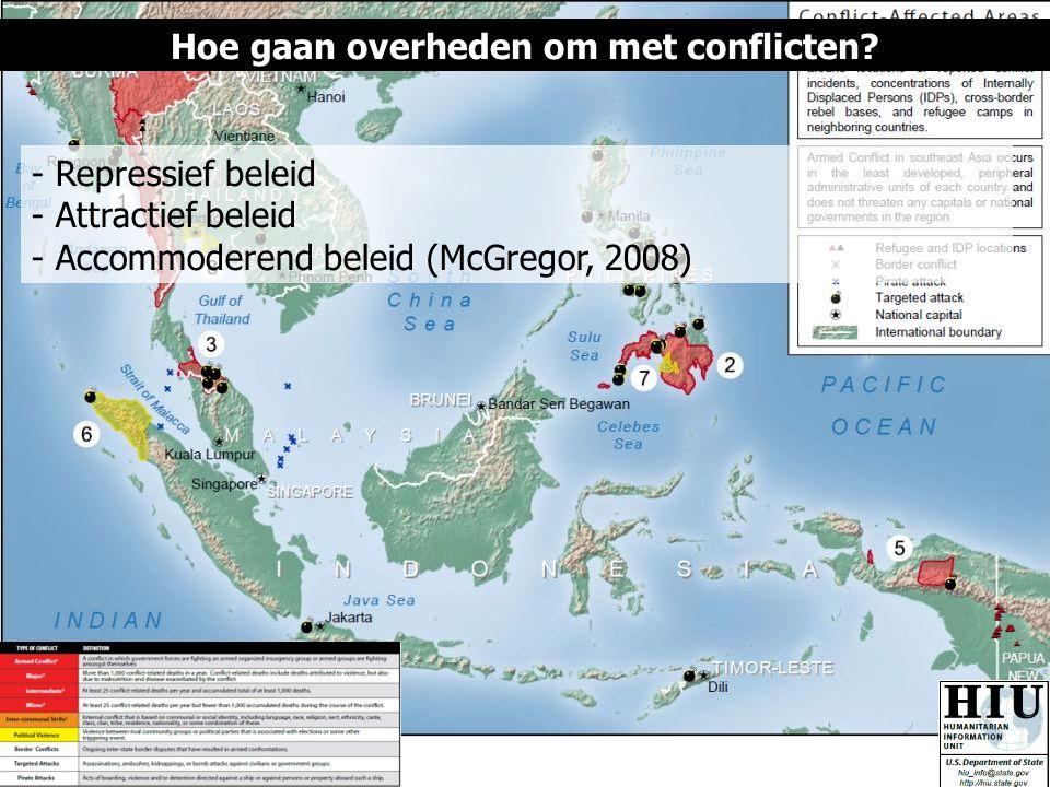 Hoe gaan overheden om met conflicten? - Repressief beleid - Attractief beleid - Accommoderend beleid (McGregor, 2008)