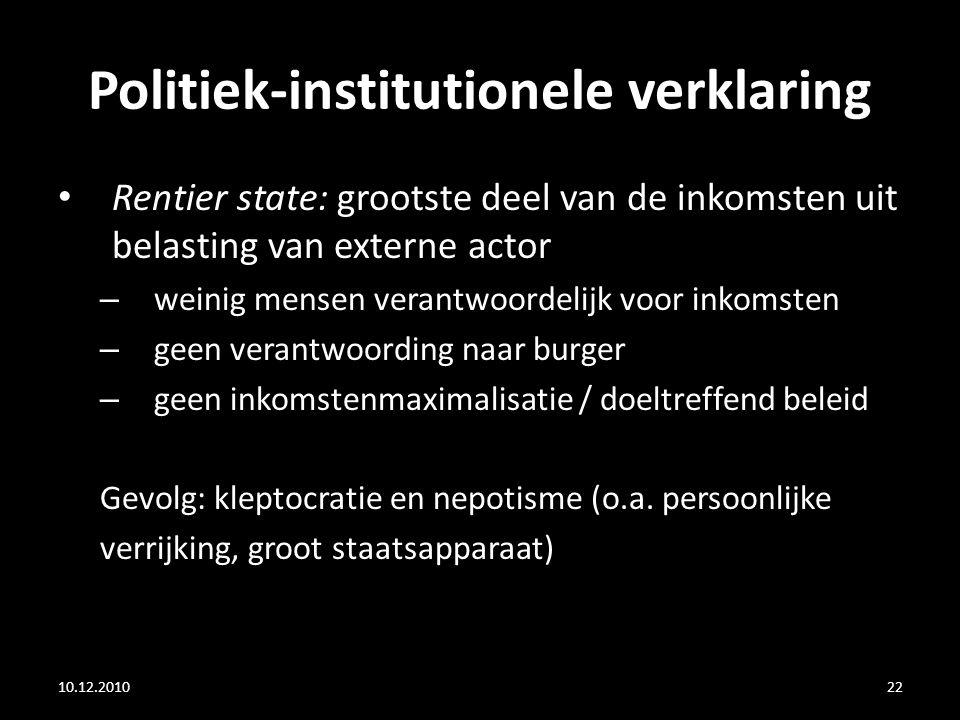 Politiek-institutionele verklaring Rentier state: grootste deel van de inkomsten uit belasting van externe actor – weinig mensen verantwoordelijk voor