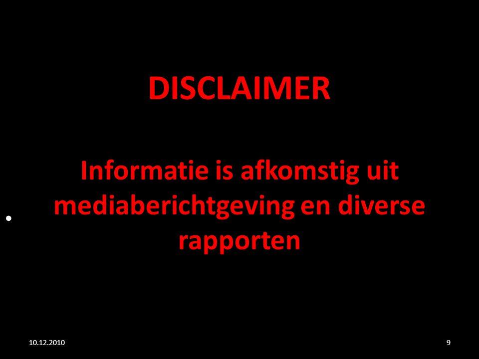 9 DISCLAIMER Informatie is afkomstig uit mediaberichtgeving en diverse rapporten