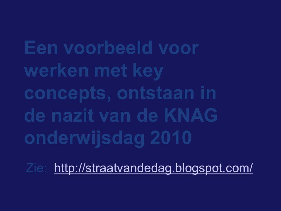 Een voorbeeld voor werken met key concepts, ontstaan in de nazit van de KNAG onderwijsdag 2010 Zie: http://straatvandedag.blogspot.com/http://straatva