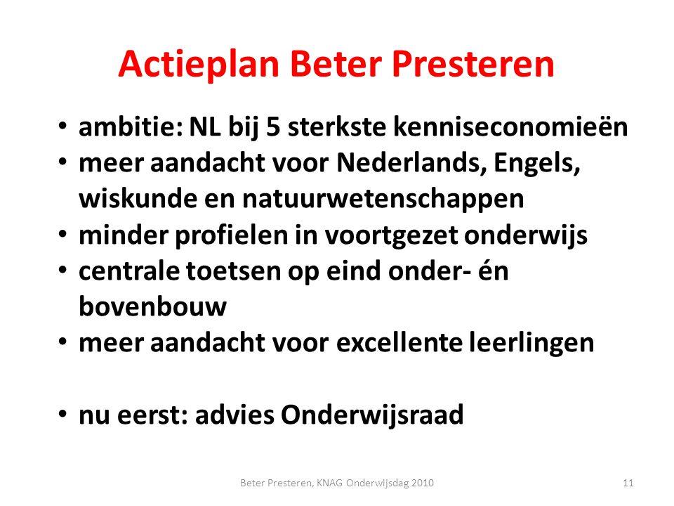 Actieplan Beter Presteren ambitie: NL bij 5 sterkste kenniseconomieën meer aandacht voor Nederlands, Engels, wiskunde en natuurwetenschappen minder pr