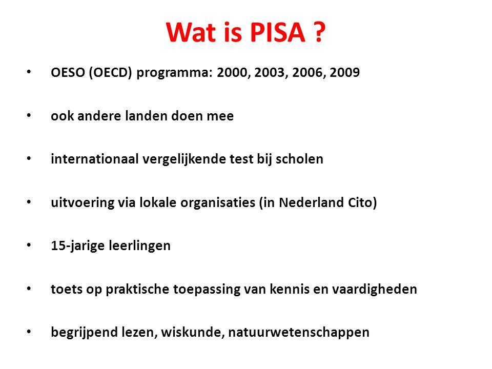 Wat is PISA ? OESO (OECD) programma: 2000, 2003, 2006, 2009 ook andere landen doen mee internationaal vergelijkende test bij scholen uitvoering via lo