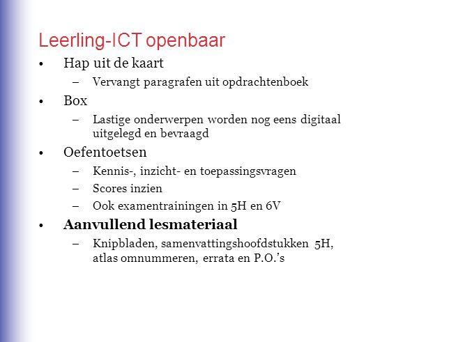 Leerling-ICT openbaar Hap uit de kaart –Vervangt paragrafen uit opdrachtenboek Box –Lastige onderwerpen worden nog eens digitaal uitgelegd en bevraagd Oefentoetsen –Kennis-, inzicht- en toepassingsvragen –Scores inzien –Ook examentrainingen in 5H en 6V Aanvullend lesmateriaal –Knipbladen, samenvattingshoofdstukken 5H, atlas omnummeren, errata en P.O.'s