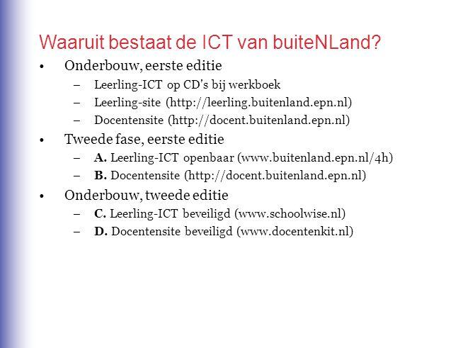 Waaruit bestaat de ICT van buiteNLand? Onderbouw, eerste editie –Leerling-ICT op CD's bij werkboek –Leerling-site (http://leerling.buitenland.epn.nl)