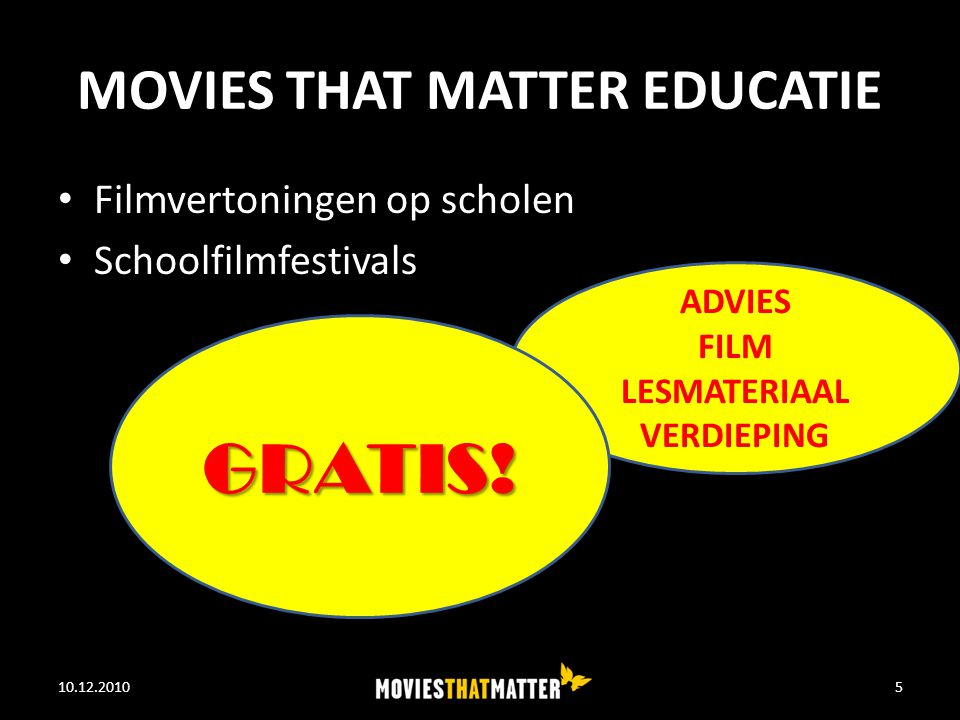 MOVIES THAT MATTER EDUCATIE Filmvertoningen op scholen Schoolfilmfestivals 10.12.2010WE FEED THE WORLD5 ADVIES FILM LESMATERIAAL VERDIEPING GRATIS!