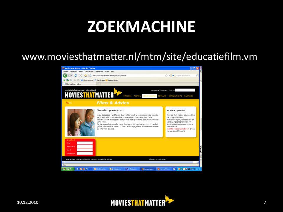 ZOEKMACHINE 10.12.2010WE FEED THE WORLD7 www.moviesthatmatter.nl/mtm/site/educatiefilm.vm