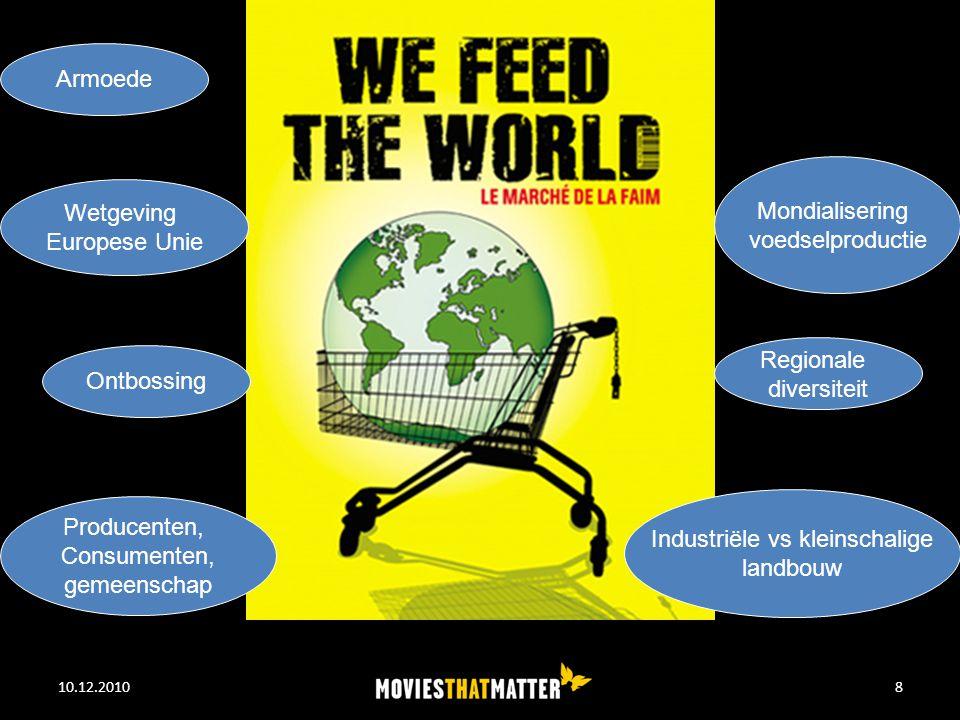 10.12.2010WE FEED THE WORLD8 Industriële vs kleinschalige landbouw Mondialisering voedselproductie Wetgeving Europese Unie Ontbossing Armoede Regionale diversiteit Producenten, Consumenten, gemeenschap
