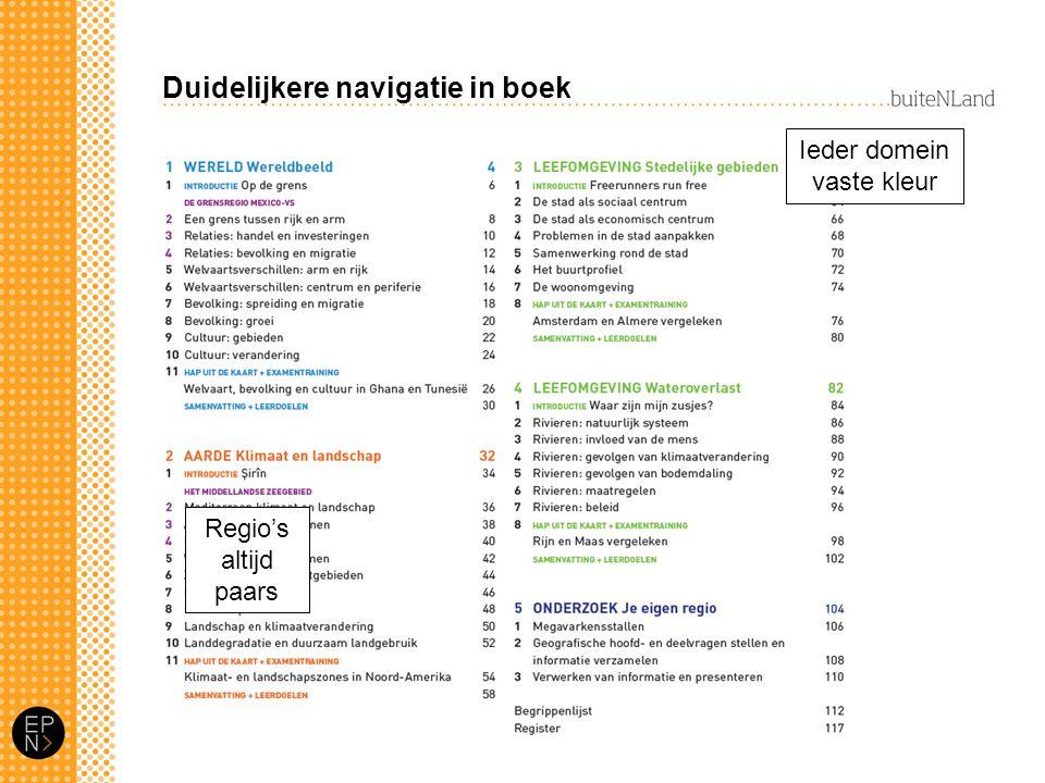 Duidelijkere navigatie in boek Ieder domein vaste kleur Regio's altijd paars