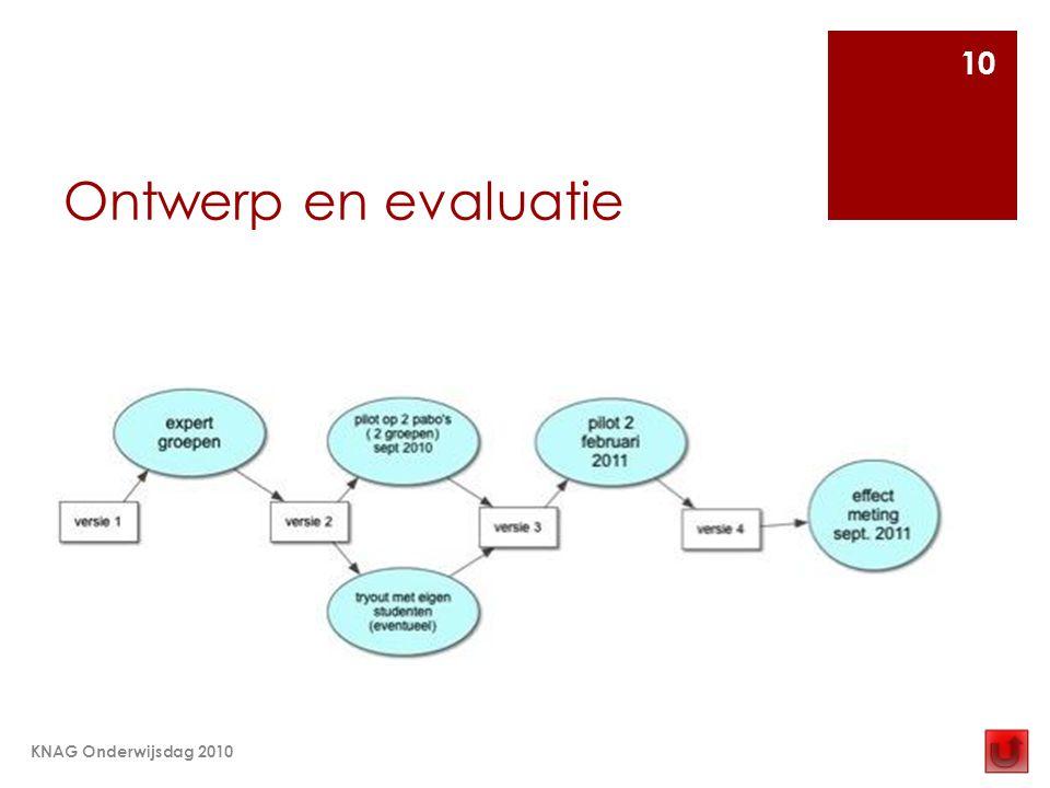 Ontwerp en evaluatie KNAG Onderwijsdag 2010 10