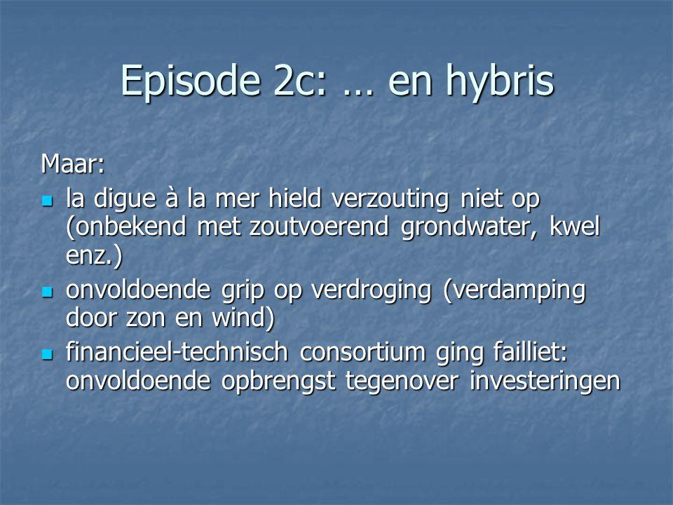 Episode 2c: … en hybris Maar: la digue à la mer hield verzouting niet op (onbekend met zoutvoerend grondwater, kwel enz.) la digue à la mer hield verz