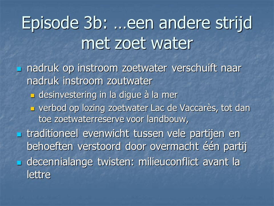 Episode 3b: …een andere strijd met zoet water nadruk op instroom zoetwater verschuift naar nadruk instroom zoutwater nadruk op instroom zoetwater vers