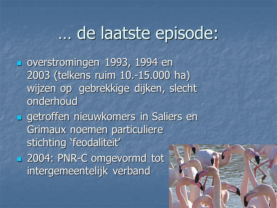 … de laatste episode: overstromingen 1993, 1994 en 2003 (telkens ruim 10.-15.000 ha) wijzen op gebrekkige dijken, slecht onderhoud overstromingen 1993