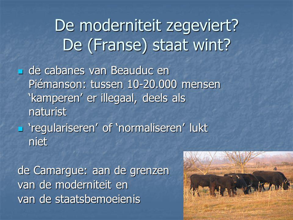 De moderniteit zegeviert? De (Franse) staat wint? de cabanes van Beauduc en Piémanson: tussen 10-20.000 mensen 'kamperen' er illegaal, deels als natur