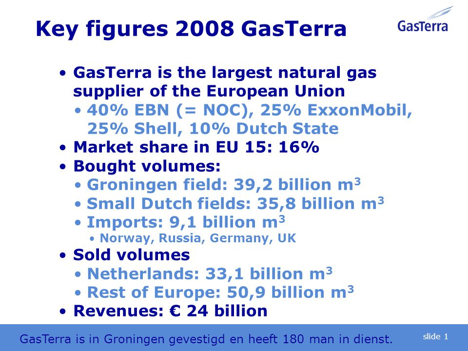 Key figures 2008 GasTerra GasTerra is the largest natural gas supplier of the European Union 40% EBN (= NOC), 25% ExxonMobil, 25% Shell, 10% Dutch Sta
