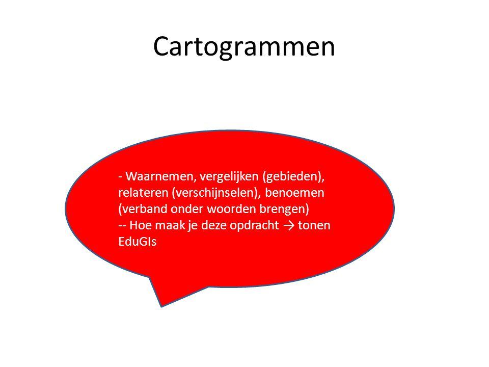 Cartogrammen - Waarnemen, vergelijken (gebieden), relateren (verschijnselen), benoemen (verband onder woorden brengen) -- Hoe maak je deze opdracht →