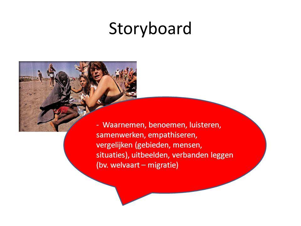 Storyboard - Waarnemen, benoemen, luisteren, samenwerken, empathiseren, vergelijken (gebieden, mensen, situaties), uitbeelden, verbanden leggen (bv. w