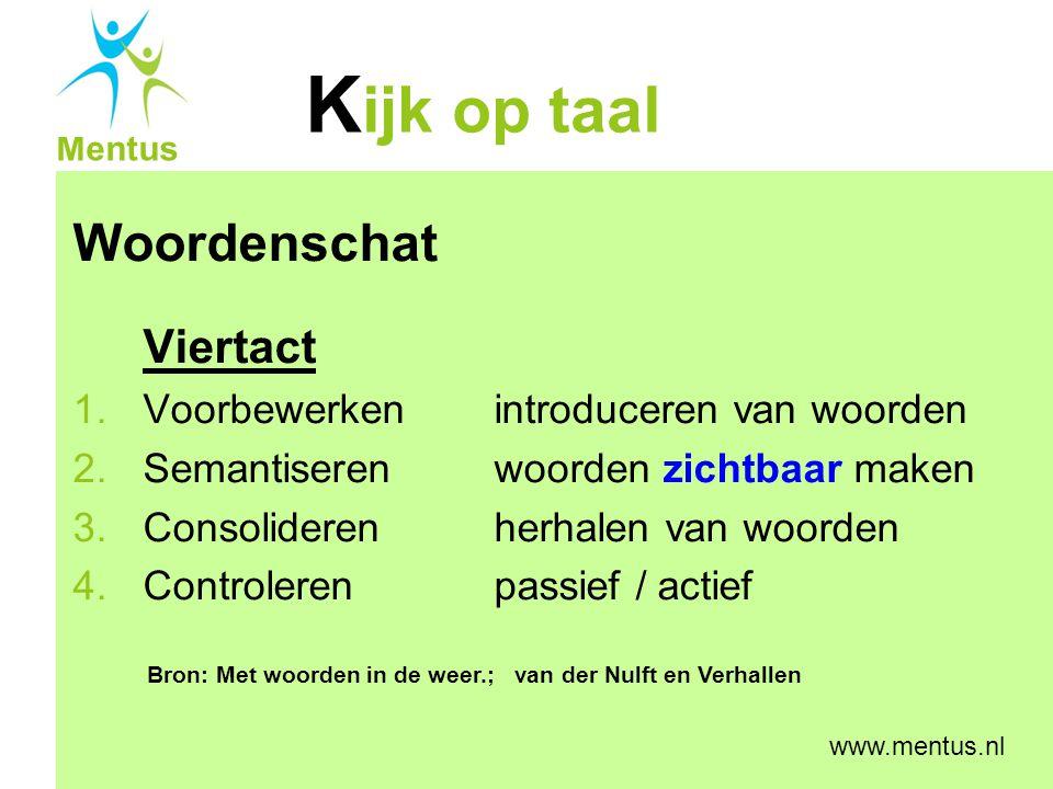 K ijk op taal Mentus www.mentus.nl Taalontwikkeling in interactie (Toii) Leerkrachtvaardigheden 1.Taalaanbod 2.Taalruimte 3.Feedback op taalgebruik (van de ll) Bron: Taalontwikkeling op school; Verhallen en Walst Taal een zaak van alle vakken.
