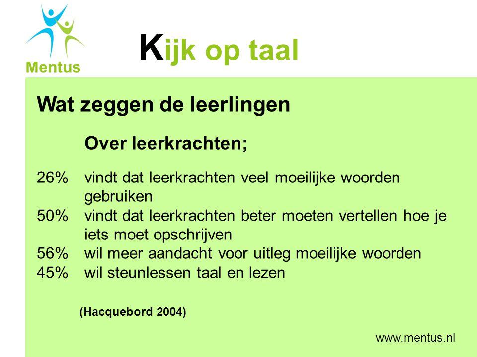 K ijk op taal Mentus www.mentus.nl Wat zeggen de leerlingen Over leerkrachten; 26% vindt dat leerkrachten veel moeilijke woorden gebruiken 50% vindt d
