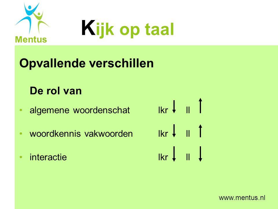 K ijk op taal Mentus www.mentus.nl Inspectierapport (2007): Basisvaardigheid taal in het VMBO 83% onder niveau bij luistervaardigheid 60% onder niveau bij tekstbegrip 50% onder niveau bij woordenschat opm: alle leerlingen hebben 2 of meer jaar leerachterstand