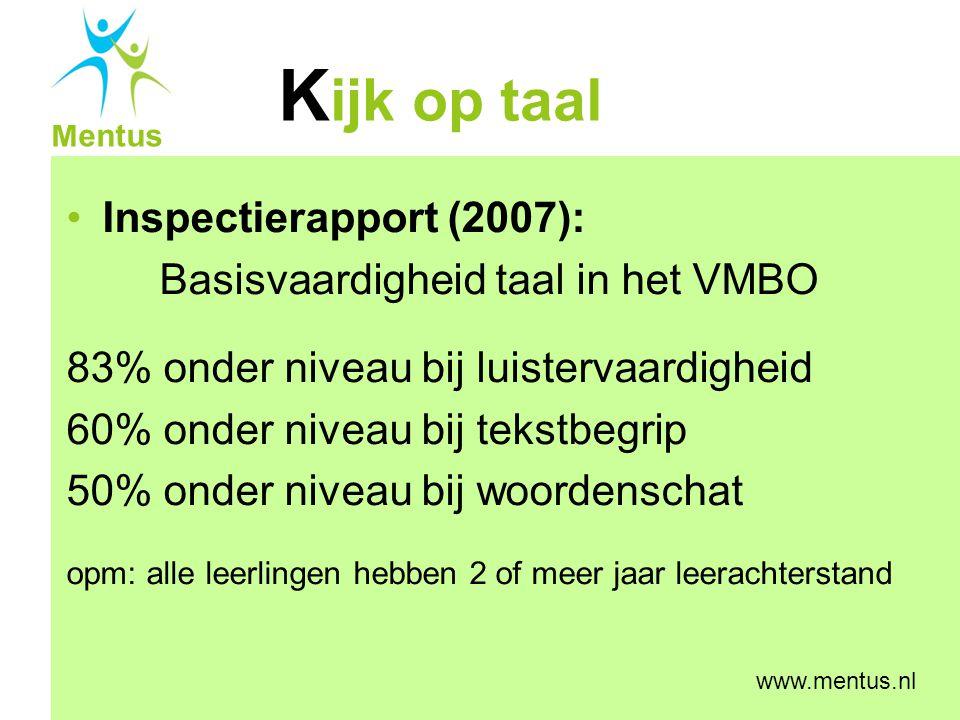 K ijk op taal Mentus www.mentus.nl Inspectierapport (2007): Basisvaardigheid taal in het VMBO 83% onder niveau bij luistervaardigheid 60% onder niveau