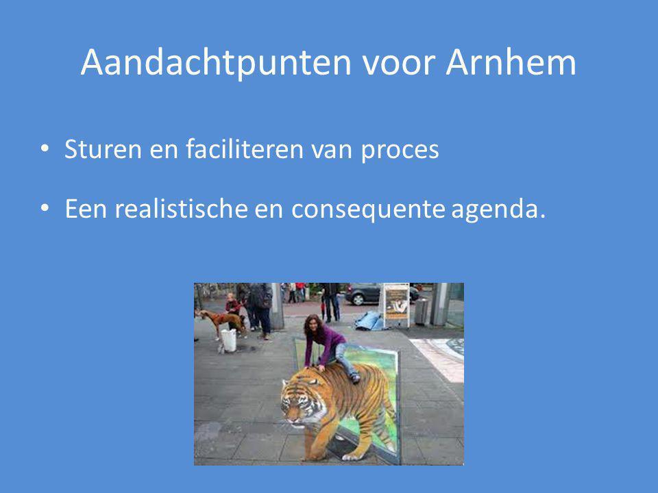 Aandachtpunten voor Arnhem Sturen en faciliteren van proces Een realistische en consequente agenda.