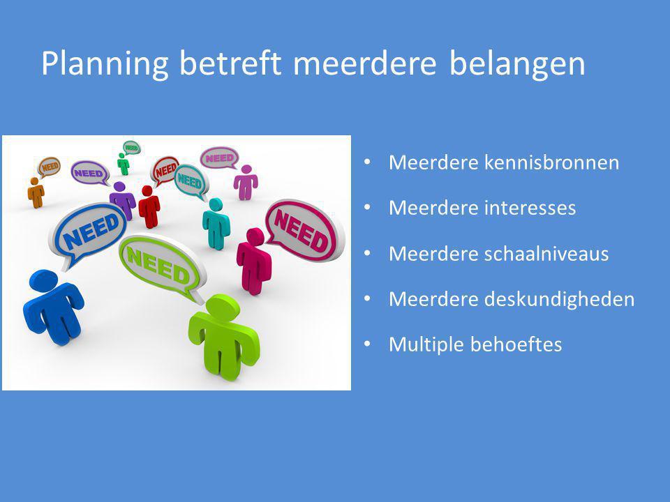 Planning betreft meerdere belangen Meerdere kennisbronnen Meerdere interesses Meerdere schaalniveaus Meerdere deskundigheden Multiple behoeftes