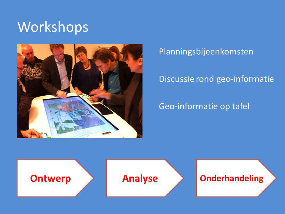 Workshops OntwerpAnalyse Onderhandeling Planningsbijeenkomsten Discussie rond geo-informatie Geo-informatie op tafel