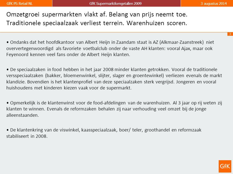 3 GfK PS Retail NLGfK Supermarktkengetallen 20093 augustus 2014 Ondanks dat het hoofdkantoor van Albert Heijn in Zaandam staat is AZ (Alkmaar-Zaanstreek) niet oververtegenwoordigd als favoriete voetbalclub onder de vaste AH klanten: vooral Ajax, maar ook Feyenoord kennen veel fans onder de Albert Heijn klanten.