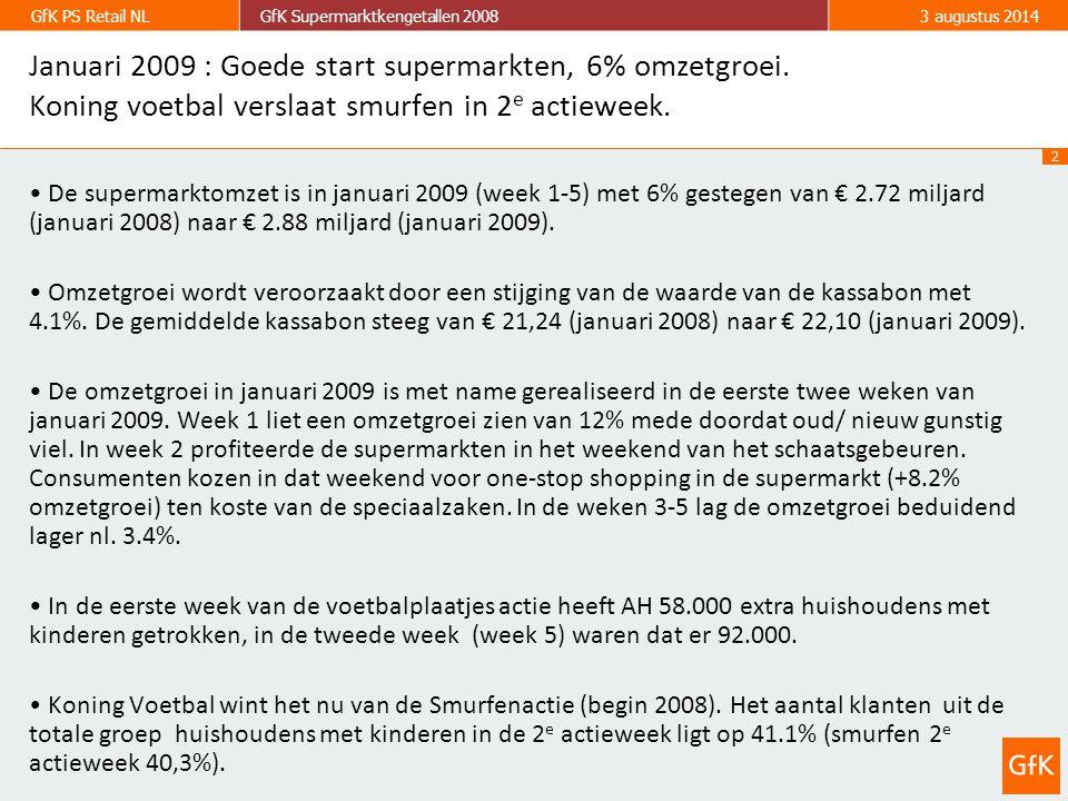 2 GfK PS Retail NLGfK Supermarktkengetallen 20083 augustus 2014 Januari 2009 : Goede start supermarkten, 6% omzetgroei. Koning voetbal verslaat smurfe