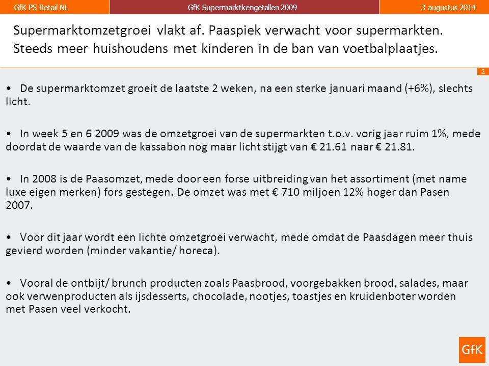 2 GfK PS Retail NLGfK Supermarktkengetallen 20093 augustus 2014 Supermarktomzetgroei vlakt af.