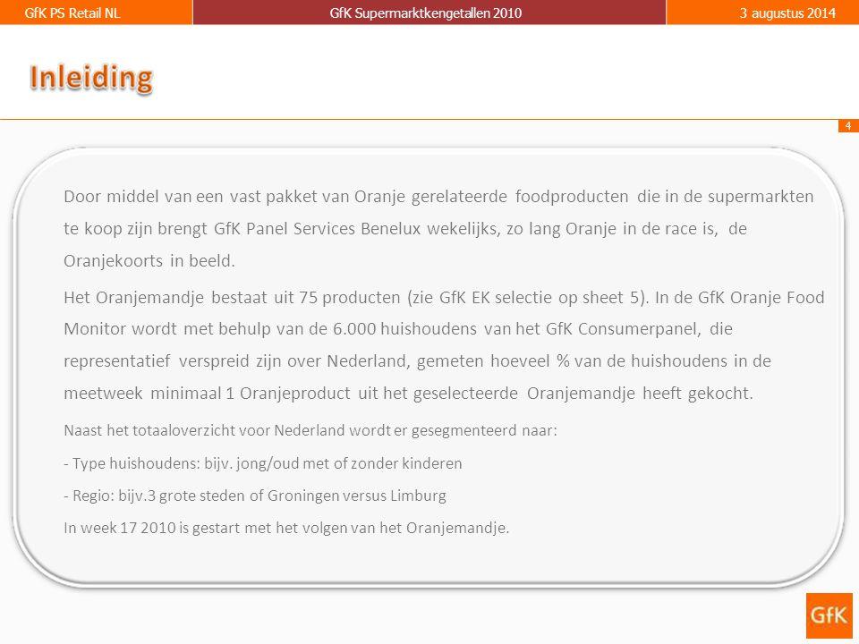 4 GfK PS Retail NLGfK Supermarktkengetallen 20103 augustus 2014 Door middel van een vast pakket van Oranje gerelateerde foodproducten die in de supermarkten te koop zijn brengt GfK Panel Services Benelux wekelijks, zo lang Oranje in de race is, de Oranjekoorts in beeld.