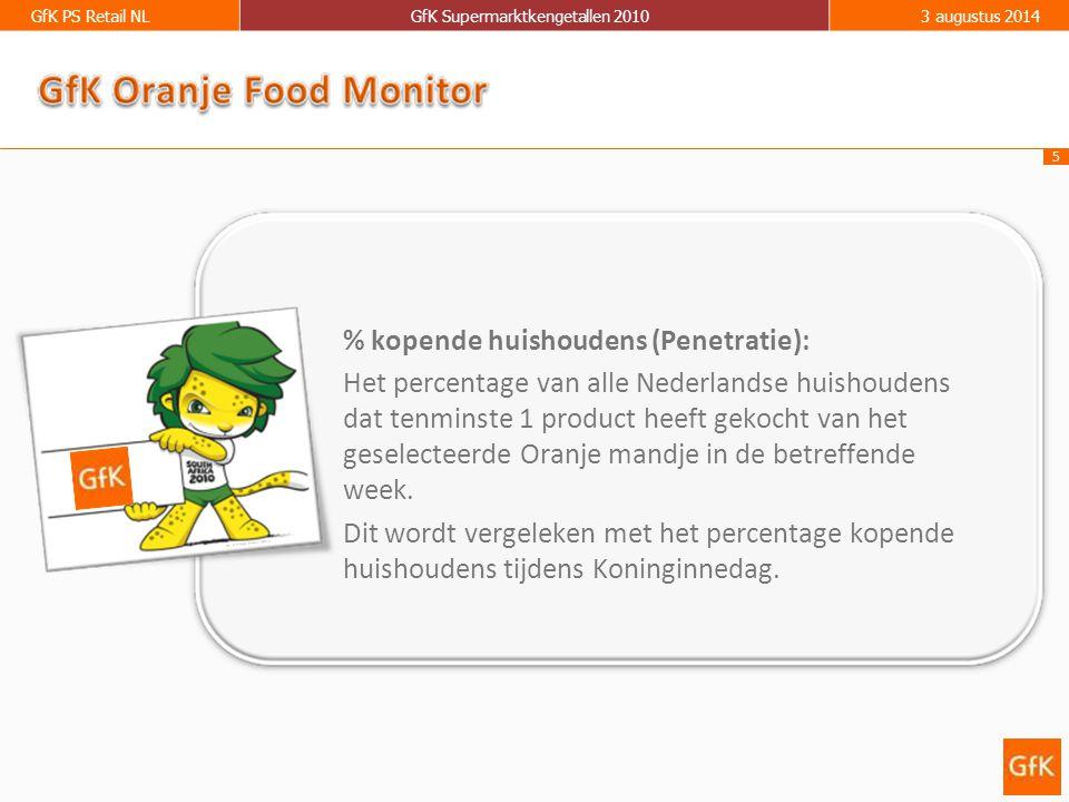 5 GfK PS Retail NLGfK Supermarktkengetallen 20103 augustus 2014 % kopende huishoudens (Penetratie): Het percentage van alle Nederlandse huishoudens dat tenminste 1 product heeft gekocht van het geselecteerde Oranje mandje in de betreffende week.