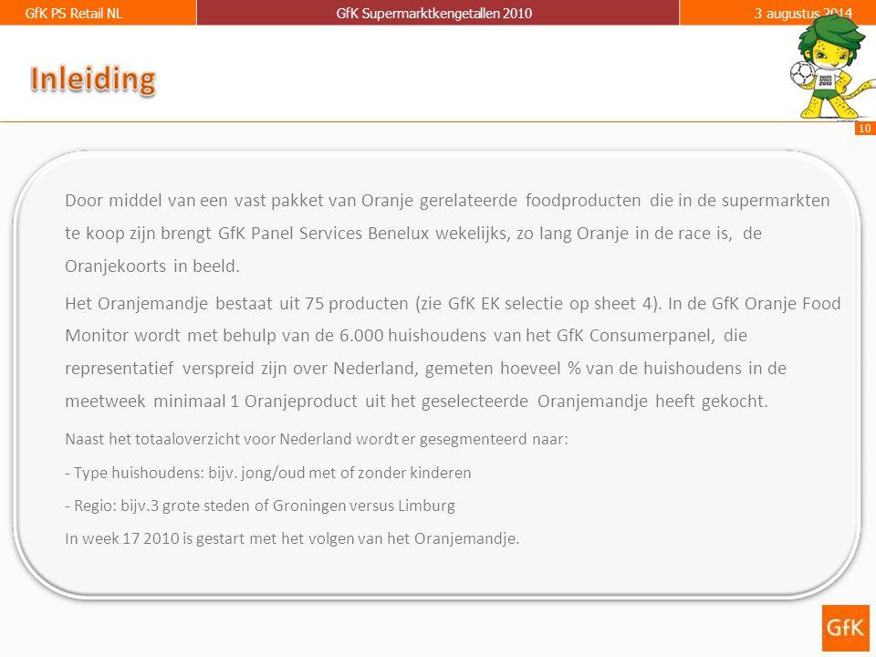 10 GfK PS Retail NLGfK Supermarktkengetallen 20103 augustus 2014 Door middel van een vast pakket van Oranje gerelateerde foodproducten die in de supermarkten te koop zijn brengt GfK Panel Services Benelux wekelijks, zo lang Oranje in de race is, de Oranjekoorts in beeld.