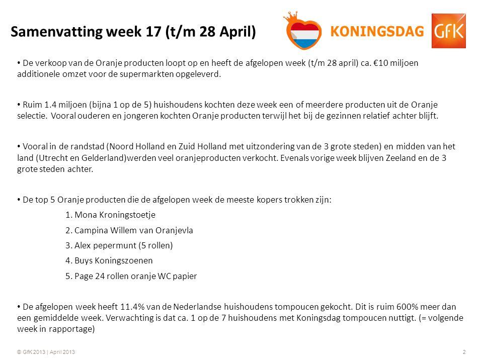 © GfK 2013 | April 20132 De verkoop van de Oranje producten loopt op en heeft de afgelopen week (t/m 28 april) ca.