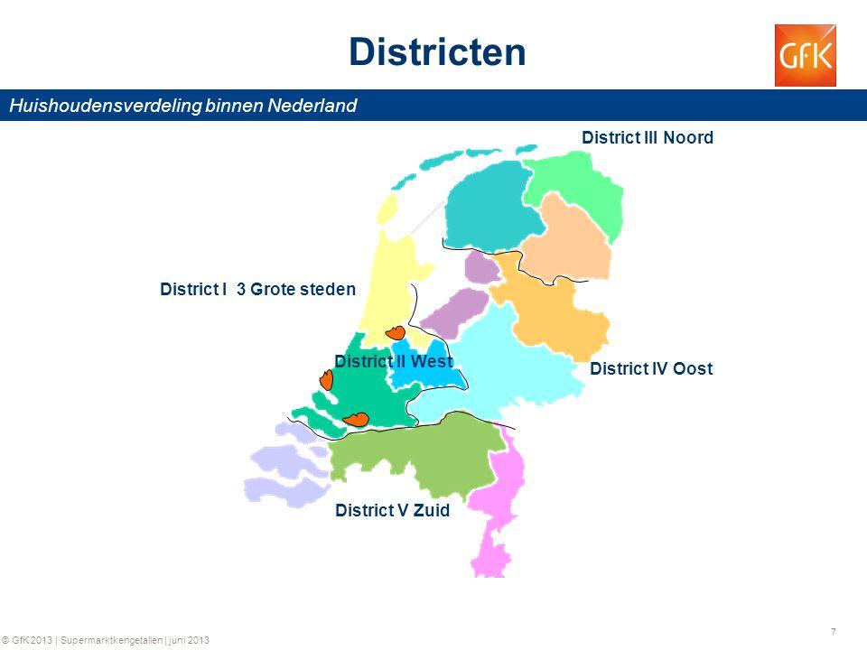 7 © GfK 2013 | Supermarktkengetallen | juni 2013 District III Noord District IV Oost District V Zuid District II West District I 3 Grote steden Distri