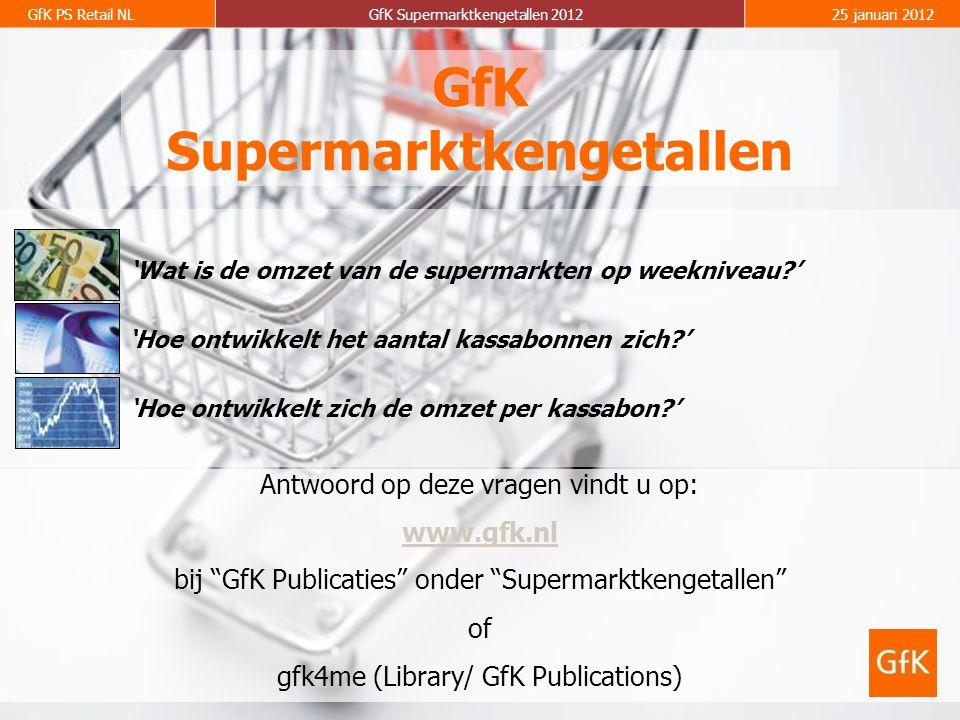 GfK PS Retail NLGfK Supermarktkengetallen 201225 januari 2012 GfK Supermarktkengetallen Antwoord op deze vragen vindt u op: www.gfk.nl bij GfK Publicaties onder Supermarktkengetallen of gfk4me (Library/ GfK Publications) 'Hoe ontwikkelt het aantal kassabonnen zich ' 'Wat is de omzet van de supermarkten op weekniveau ' 'Hoe ontwikkelt zich de omzet per kassabon '