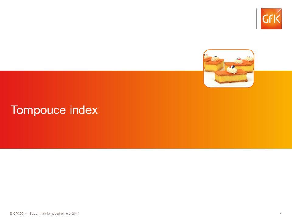 3 © GfK 2014   Supermarktkengetallen   mei 2014 Tompouce index Koningsdag EK/ WK voetbal Penetratie De afgelopen week heeft 1 op de 8 huishoudens (12.6%) van de Nederlandse huishoudens tompoucen gekocht.