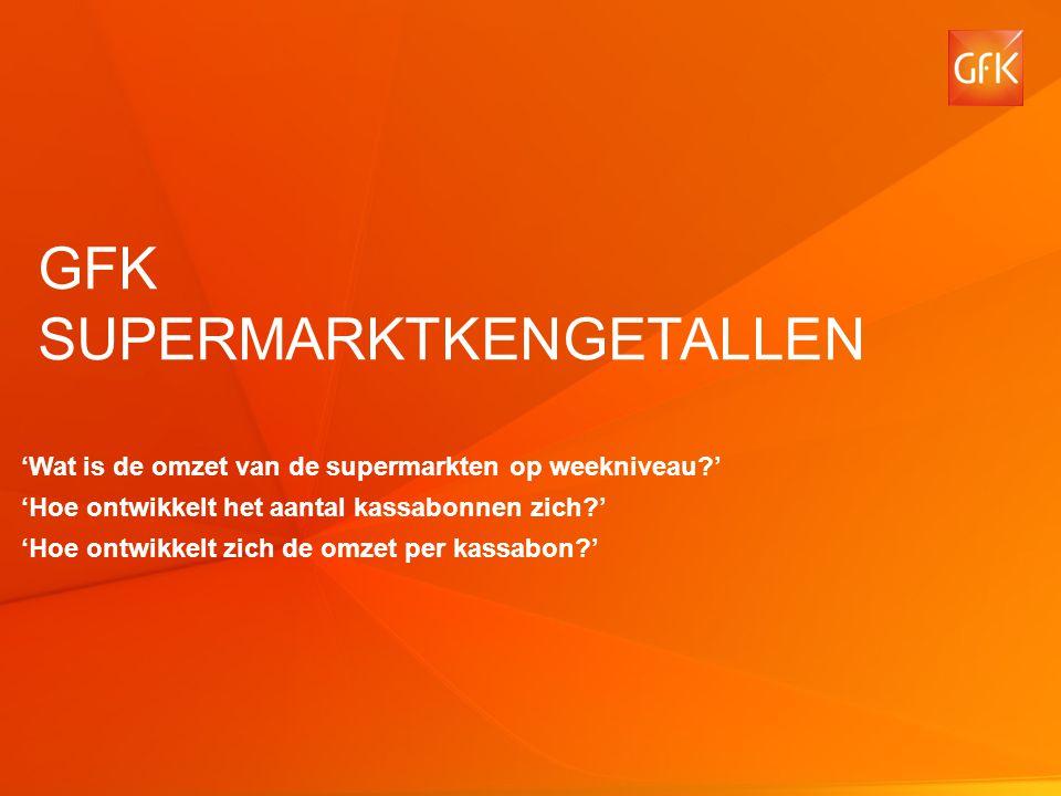 1 © GfK 2013 | Supermarktkengetallen | November 2013 GFK SUPERMARKTKENGETALLEN 'Wat is de omzet van de supermarkten op weekniveau ' 'Hoe ontwikkelt het aantal kassabonnen zich ' 'Hoe ontwikkelt zich de omzet per kassabon '