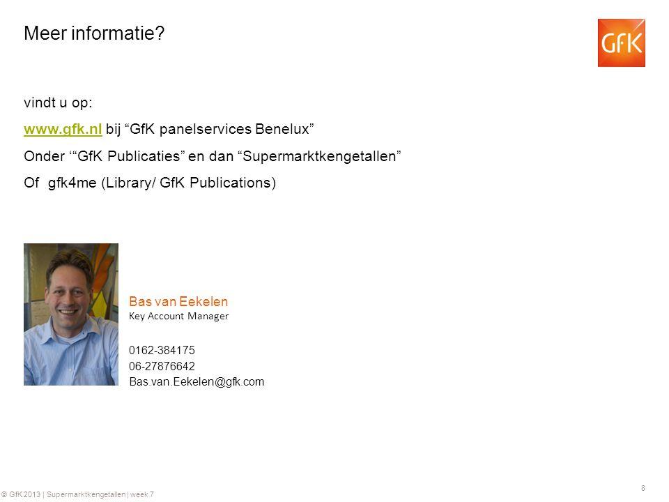 8 © GfK 2013 | Supermarktkengetallen | week 7 0162-384175 Key Account Manager Bas van Eekelen 06-27876642 Bas.van.Eekelen@gfk.com Meer informatie.